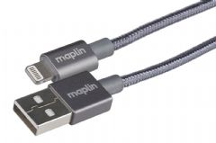 Maplin Pro Lightning Connector to USB A Male Cable 1.5m Grey Braided